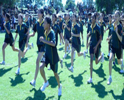 students in their PE uniform